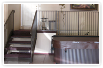 Wrought Iron balcony and stair railing in a customer's garage