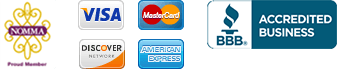 Collage of Icons: NOMMA, Credit Cards, BBB Accredited Business